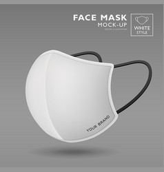 face mask fabric white color mock up side view vector image