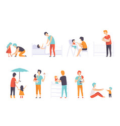 fathers taking care their children set daddies vector image