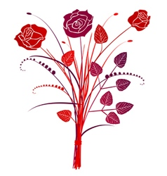 Floral background red roses bouquet vector