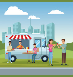 Food truck and customers vector