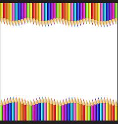 Frame made of multicolor wooden pencils rows vector