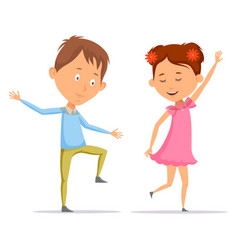 girl and boy children and kid dancing vector image