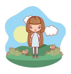 Girl smiling outdoors cartoon vector