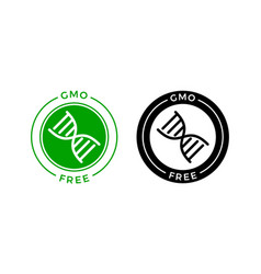 gmo free icon green non gmo dna label vector image