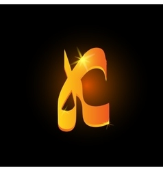 Golden arabic style letter k Shiny latin alphabet vector image