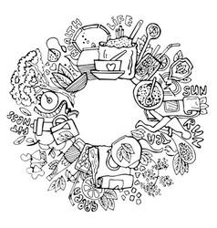 green tea circle doodles sketched green tea vector image