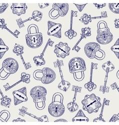 Hand drawn locks and keys pattern vector image