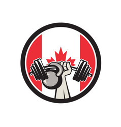 hand lifting barbell kettlebell canada flag vector image
