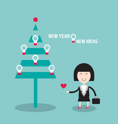 happy business woman near christmas tree with vector image