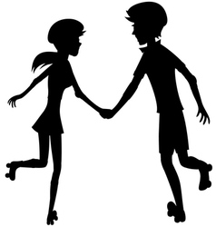 Happy roller-skating couple - silhouette vector