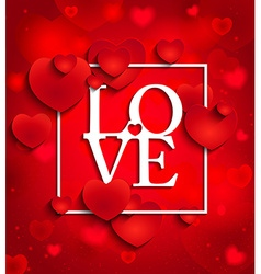 Happy valentines day on red background with hearts vector image vector image