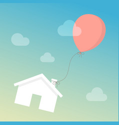 house floating in sky with balloon vector image