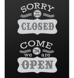 Image of various open and closed business signs vector image