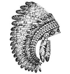 Indian feathers headdress vector