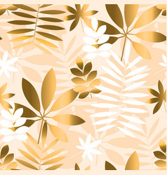 ivory and beige tropical foliage seamless pattern vector image