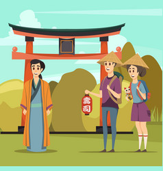 Japan landmarks travel orthogonal composition vector