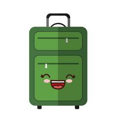Kawaii suitcase icon vector
