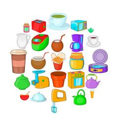 Kitchenware icons set cartoon style vector