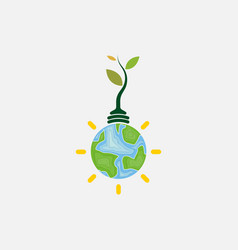 light bulb and tree iconworld environment day vector image