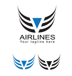 Logo for airline company flight icon vector