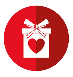 Love gift box bow wrapped shadow vector