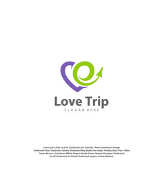 love travel logo travel logo design template vector image