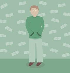 Man with dollars money vector