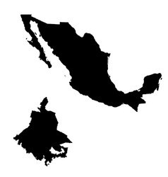 Map mexico and mexico city country and capital vector