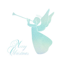 Merry christmas card with angel and trumpet vector