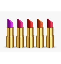 Modern lipstick set on white vector