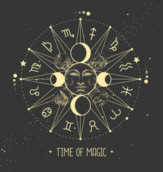 modern magic witchcraft astrology wheel vector image