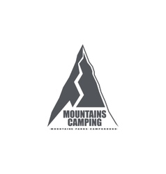 Monochrome emblem or logo of the mountains ideal vector