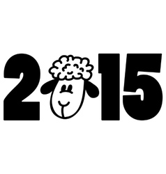 New 2015 year card with cartoon sheep vector image