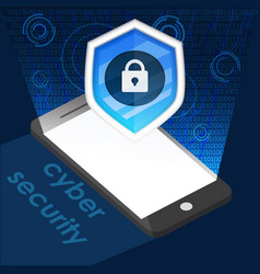 phone and icon cyber security background graphic vector image