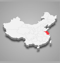 Province location within china 3d map vector