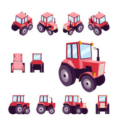 Red farm tractor from different angles vehicle vector