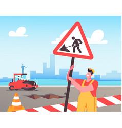 Roadwork and asphalt paving concept worker man vector