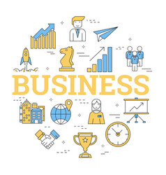 round linear concept of business vector image