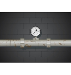 Rusty pipe with manometer on wall background vector