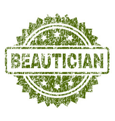 Scratched textured beautician stamp seal vector
