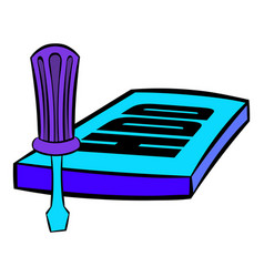 screwdriver and hdd icon cartoon vector image