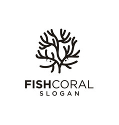 Sea coral and fish logo black silhouette isolated vector
