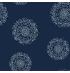 Seamless dark blue floral pattern vector image