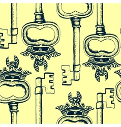 Seamless pattern with antique hand-drawn keys vector