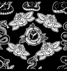 seamless pattern with snakes and roses design vector image