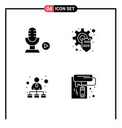 Set 4 commercial solid glyphs pack vector