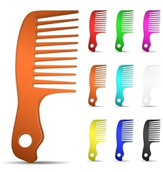 set multicolored hairbrushes vector image