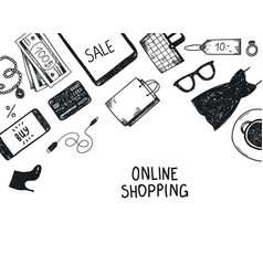 set of hand drawn shopping online objects vector image