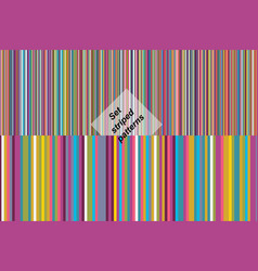 set seamless striped colorful patterns vector image