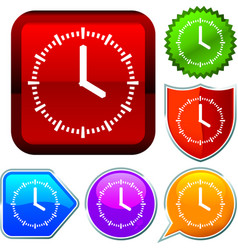 Set shiny icon series on buttons analogic clock vector
